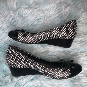 Cole haan tali black white polka dot lace wedges 8